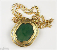 Vintage Trifari Asian Oriental Faux Jade Molded Lucite Geisha Pendant Necklace