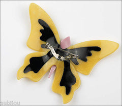Lea Stein Elfe The Butterfly Insect Brooch Pin Jonquil Black Red Back