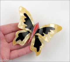 Lea Stein Elfe The Butterfly Insect Brooch Pin Jonquil Black Red Model