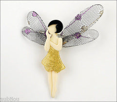 Lea Stein Fairy Demoiselle Volage Brooch Pin Yellow Black Grey