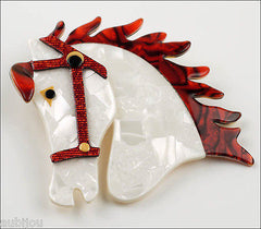 Lea Stein Butter The Horse Head Brooch Pin Pearly White Red Side