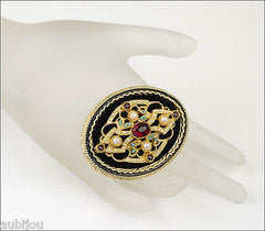 Vintage Signed Art Ornate Victorian Black Velvet Siam Red Rhinestone Brooch Pin 1960's
