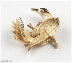 Vintage Crown Trifari 3D Figural Bird Dove Pigeon Brooch Pin 1960's Jewelry