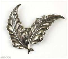 Vintage Large Cini Sterling Silver 3D Floral Double Leaf Brooch Pin 1950's Jewelry