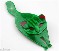 Lea Stein Attila The Cat Brooch Pin Green Red Side