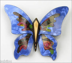 Lea Stein Elfe The Butterfly Insect Brooch Pin Blue Yellow Multicolor Front