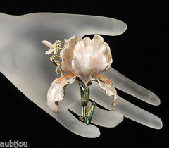 Kirks Folly Large 3D Cream Enamel Floral Flower Iris Orchid Brooch Pin Fairy
