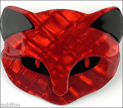 Lea Stein Bacchus The Cat Head Brooch Pin Red Black Gallery