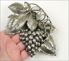Vintage Large Napier 3D Silverplated Danish Grape Leaf Cluster Brooch Pin Set 1960S