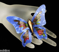Lea Stein Elfe The Butterfly Insect Brooch Pin Blue Yellow Multicolor Mannequin