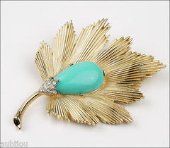 Vintage Trifari Floral Faux Turquoise Light Blue Cabochon Leaf Brooch Pin 1960's