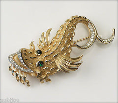 Vintage Trifari Large Figural Rhinestone Dragon Fish Sea Creature Brooch Pin 1960's