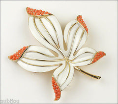 Vintage Trifari Large Floral White Enamel Faux Coral Cabochon Leaf Brooch Pin 1960's