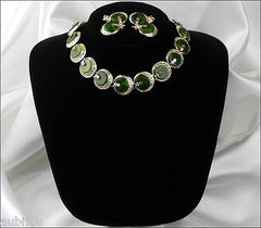 Vintage Signed Art Oriental Spinach Green Marbled Bakelite Necklace Choker Set 1960's