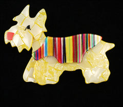 Lea Stein Kimdoo Dog Scottish Terrier Brooch Pin Pearly Yellow Black
