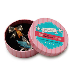 Erstwilder 5th Birthday Robin's Ribbon Double Brooch Sweater Pin Box
