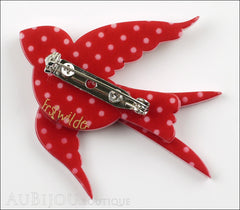 Erstwilder Bird Brooch Pin Bluebird of Happiness Red Polka Dot Back