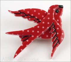 Erstwilder Bird Brooch Pin Bluebird of Happiness Red Polka Dot Side