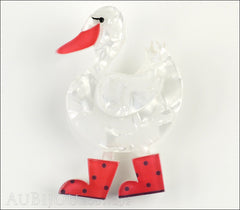 Erstwilder Bird Brooch Pin Donavon Ditsy Duck White Red Front