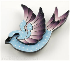 Erstwilder Bird Brooch Pin Fancie Jo Sparrow Blue Grey Side