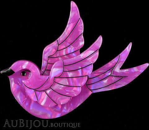 Erstwilder Bird Brooch Pin Fancie Jo Sparrow Pearly Purple Gallery