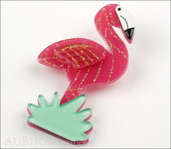 Erstwilder Bird Brooch Pin Flamboyant Flamingo Funk Fuchsia Gold Side