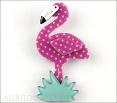 Erstwilder Bird Brooch Pin Flamboyant Flamingo Funk Purple Polka Dot Front