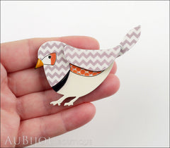 Erstwilder Bird Brooch Pin Fred Finch White Chevron Model