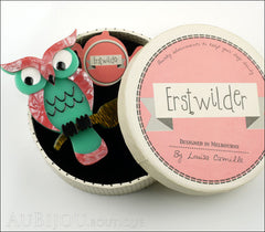 Erstwilder Bird Brooch Pin Howards Hoot Owl Pink Green Box