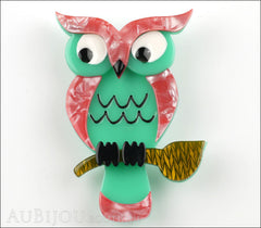 Erstwilder Bird Brooch Pin Howards Hoot Owl Pink Green Front