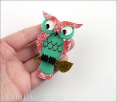 Erstwilder Bird Brooch Pin Howards Hoot Owl Pink Green Model