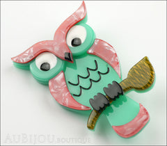 Erstwilder Bird Brooch Pin Howards Hoot Owl Pink Green Side