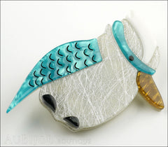 Erstwilder Bird Brooch Pin Kallista the Kookaburra Blue Silver Side