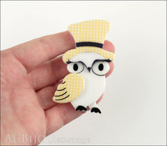 Erstwilder Bird Brooch Pin Olga Owl Yellow White Model