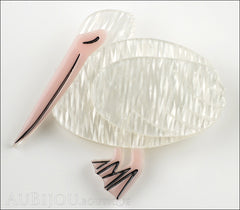 Erstwilder Bird Brooch Pin Prudence The Pelican White Pink Front