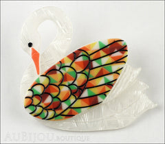 Erstwilder Bird Brooch Pin Sabine the Swan Multicolor Front