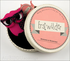 Erstwilder Bird Brooch Pin Waldo the Wacky Wise Owl Fuchsia Box