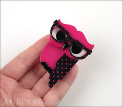 Erstwilder Bird Brooch Pin Waldo the Wacky Wise Owl Fuchsia Model