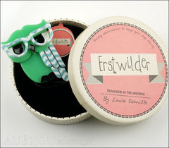 Erstwilder Bird Brooch Pin Waldo the Wacky Wise Owl Mint Green Box