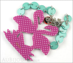 Erstwilder Bird Necklace Flamboyant Flamingo Funk Purple Polka Dot Back