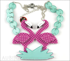 Erstwilder Bird Necklace Flamboyant Flamingo Funk Purple Polka Dot Front