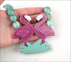 Erstwilder Bird Necklace Flamboyant Flamingo Funk Purple Polka Dot Model