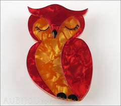 Erstwilder Bird Pin Brooch Olive Owl Red Orange Front
