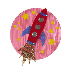 Erstwilder Blast Off Rocket Launch Brooch Pin Front