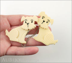 Erstwilder Brooch Double Pin Henry's Delightful Duo Dog Yellow Model