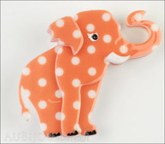 Erstwilder Brooch Pin Alice the Elephant Orange White Polka Dot Front