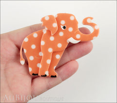 Erstwilder Brooch Pin Alice the Elephant Orange White Polka Dot Model