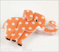 Erstwilder Brooch Pin Alice the Elephant Orange White Polka Dot Side