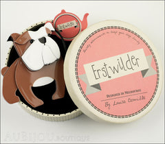 Erstwilder Brooch Pin Boof Bulldog Dog  Chocolate White Box
