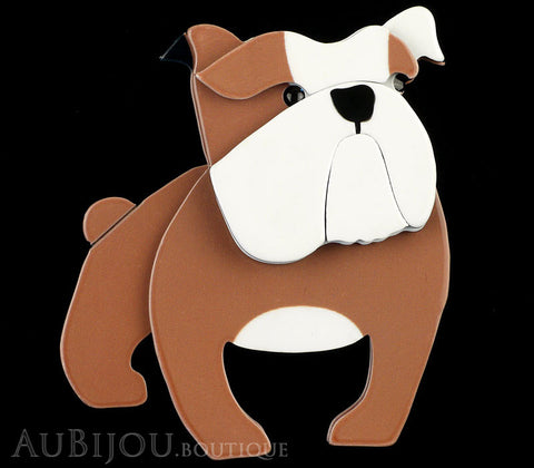 Erstwilder Brooch Pin Boof Bulldog Dog  Chocolate White Gallery